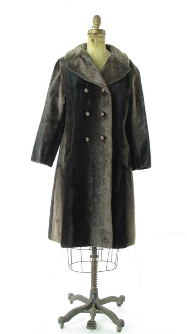 Russel Taylor Faux Vintage Swing Peacoat Trench Fur Coat Image 1