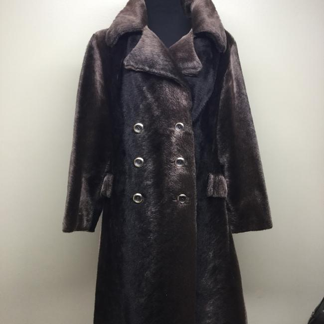Russel Taylor Faux Vintage Swing Peacoat Trench Fur Coat Image 2