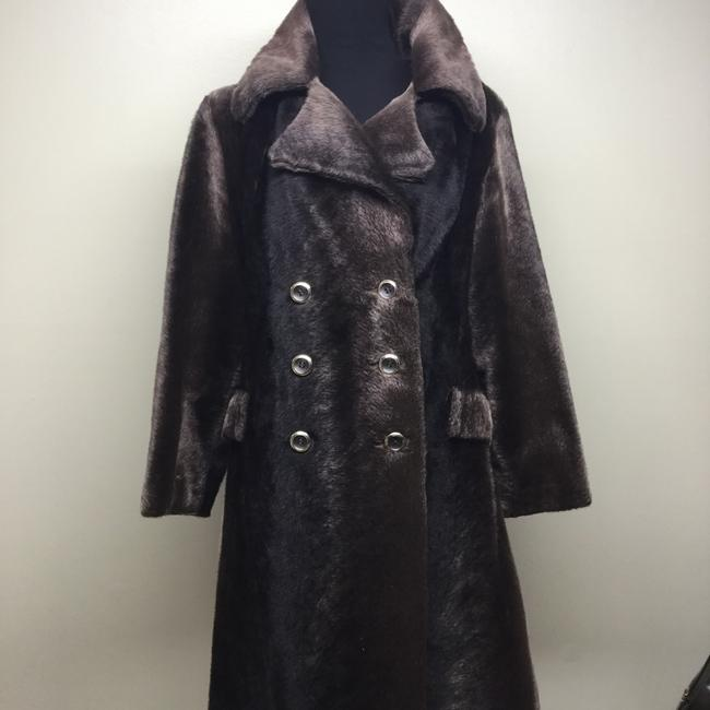 Russel Taylor Faux Vintage Swing Peacoat Trench Fur Coat Image 3