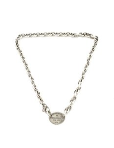 Tiffany & Co. Sterling Silver Return To Tiffany Oval Tag Necklace in Box