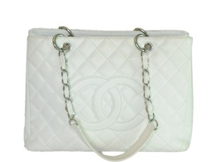 Chanel Gst Silver Tote in White
