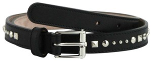 Gucci Studded Black Leather Skinny Belt With Silver Buckle 80/32 380561 1000