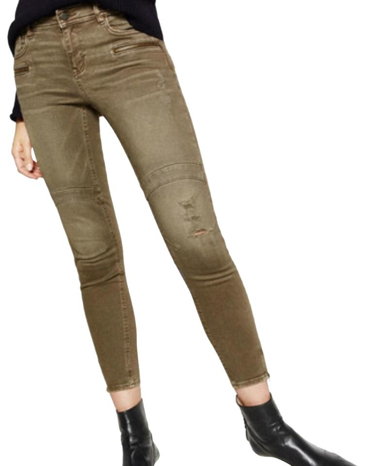 413e9e77 Zara Green Distressed Faded Mid Rise Ankle Zip Biker Skinny Jeans ...