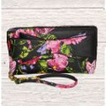 Betsey Johnson BLACK FLORAL PRINT ZIP AROUND WALLET /WRISTLET Image 1