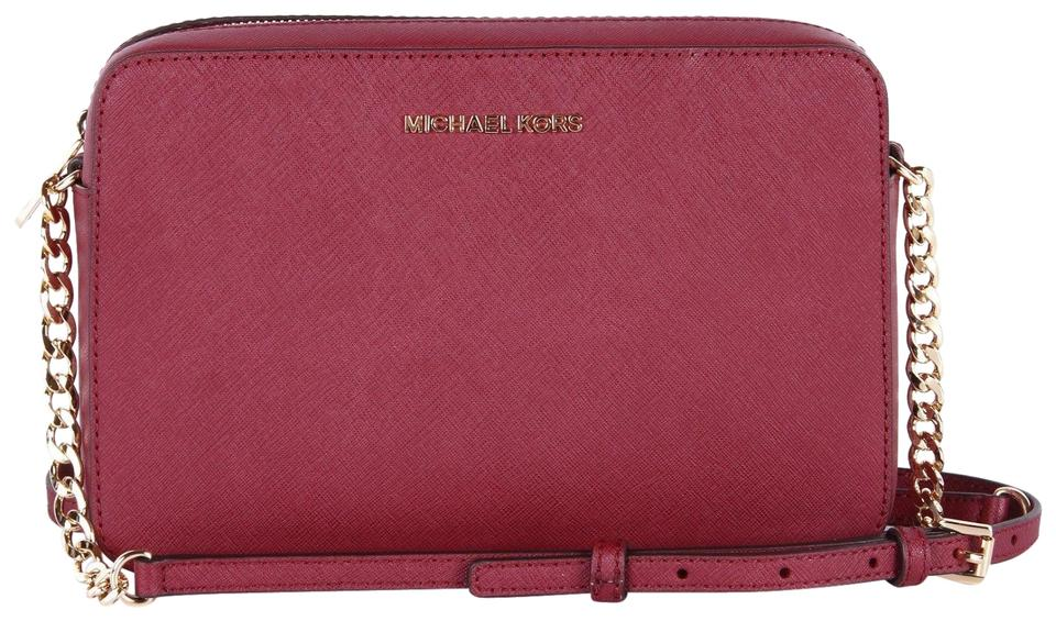 b33f2adc17aa6 Michael Kors Jet Set Travel Large East West Safiano Red Mulberry ...