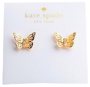 Kate Spade 12K Gold Plated Social Butterfly Stud Earrings style# WBRUF381