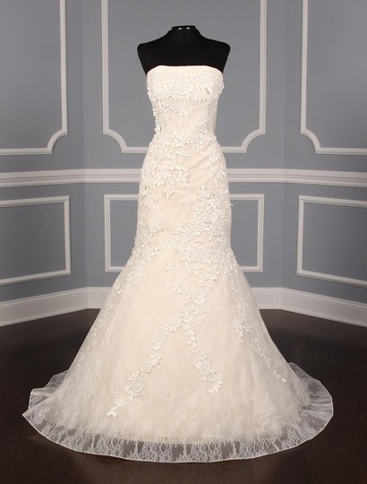 Liancarlo Ivory/Cream Chantilly Lace Guipure Lace 6891 Formal Wedding Dress Size 10 (M) Image 2