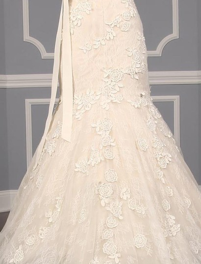Liancarlo Ivory/Cream Chantilly Lace Guipure Lace 6891 Formal Wedding Dress Size 10 (M) Image 9