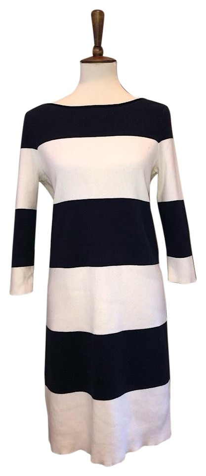 08b71c19f76a Gap Navy Blue White Cream And Striped Midi Sweater 3/4 Length Sleeve Short  Casual Dress