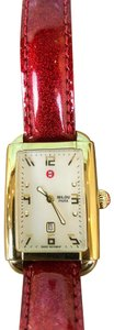Michele Michele Milou Park Red Glitter Gold Face Analog Women's Watch SALE!