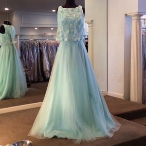 Mori Lee Mint Tulle 21511 Formal Bridesmaid/Mob Dress Size 12 (L)