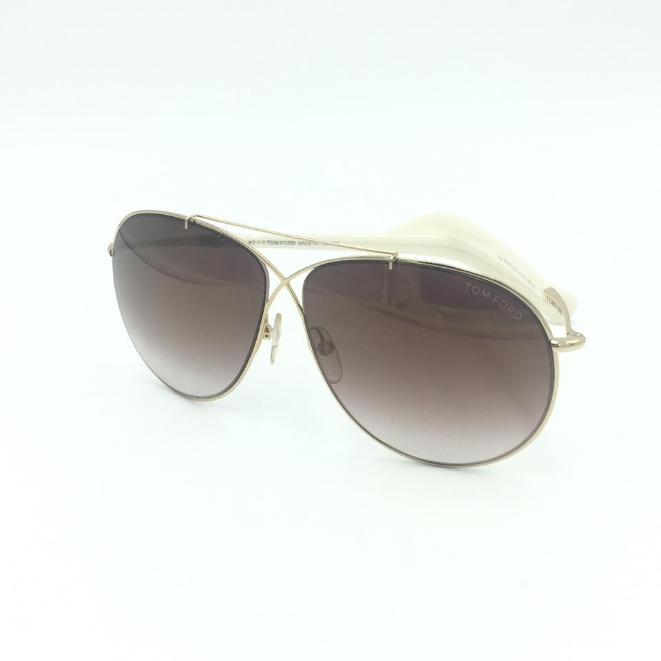 e340958ce992 Tom Ford Eva Aviator Brown Gold Mirror TF374 28G Sunglasses Image 8.  123456789