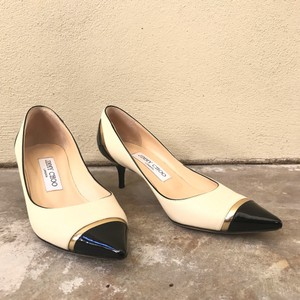 Jimmy Choo Kitten Heel White Leather Patent Leather Cream and Black Pumps