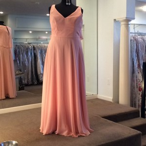 Mori Lee Peach Chiffon 21513 Formal Bridesmaid/Mob Dress Size 18 (XL, Plus 0x)
