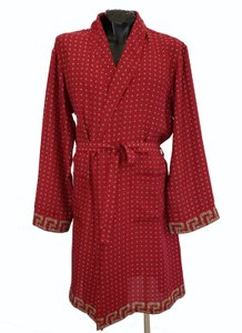 Versace Red L New Belted Silk Robe For Men Size Other