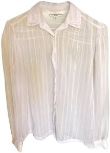 Dior Button Down Shirt White gold