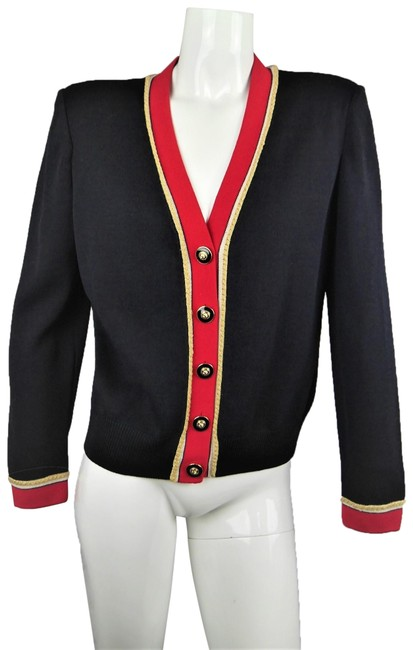 Preload https://img-static.tradesy.com/item/24475033/st-john-black-red-vintage-knit-cardigan-sweater-gucci-inspired-gold-button-jacket-size-8-m-0-1-650-650.jpg
