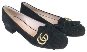 Gucci Suede Marmont Kiltie Loafers Black Pumps