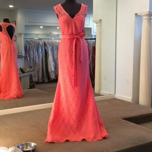 Mori Lee Coral Lace 724 Formal Bridesmaid/Mob Dress Size 12 (L)