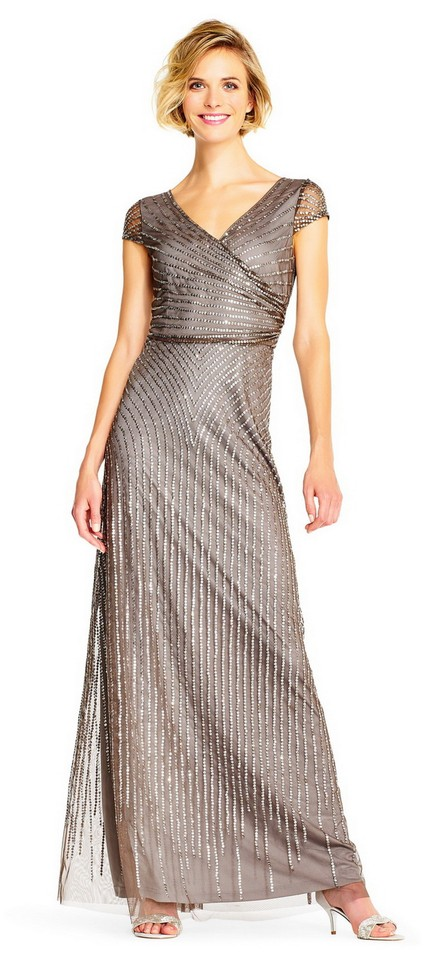 741261f54ef Adrianna Papell Lead Sheer Cap Sleeves Beaded Gown with Wrap Front (Lead) Formal  Dress