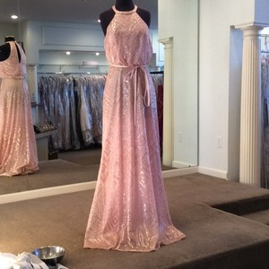 Angelina Faccenda Blush with Gold Sequins On Tulle 20475 Formal Bridesmaid/Mob Dress Size 8 (M)