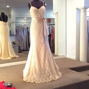 Mori Lee Champagne Lace 127 Formal Bridesmaid/Mob Dress Size 10 (M)