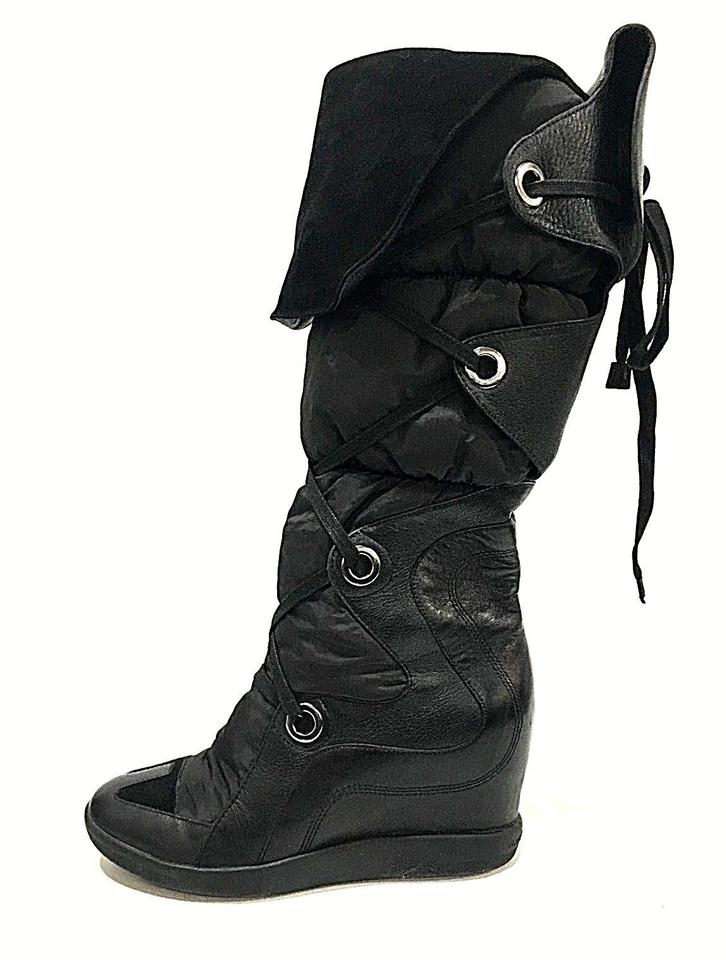 Y-3 Black Nomad Leather Puffer Wedge Over Knee Euro 38 Boots Booties ... 472be15f69bd