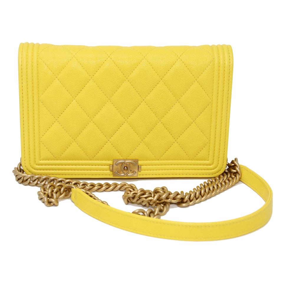 64084202a1a1 Chanel Classic Flap Boy Quilted Caviar Small Woc Yellow Leather Cross Body  Bag