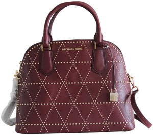 Michael Kors Dome Studded Satchel in Red