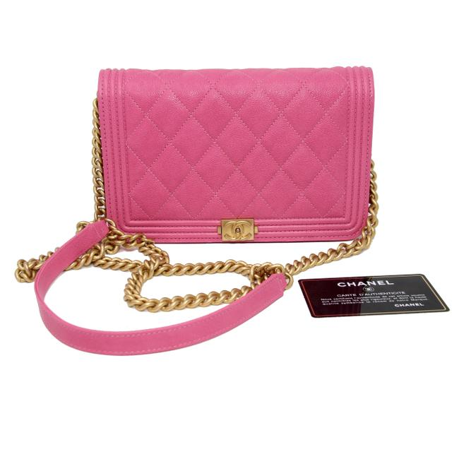 Chanel Classic Flap Boy Quilted Caviar Small Woc Pink Leather Cross Body Bag Chanel Classic Flap Boy Quilted Caviar Small Woc Pink Leather Cross Body Bag Image 1
