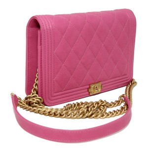 06e6afa0ced61b Chanel Classic Flap Boy Quilted Caviar Small Woc Pink Leather Cross Body Bag