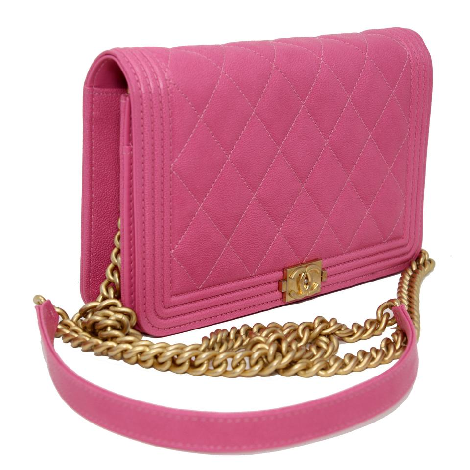 0e083dbfd02b Chanel Classic Flap Boy Quilted Caviar Small Woc Pink Leather Cross Body Bag