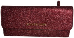 Michael Kors Giftables Red Glitter Slim Flat Wallet Leather Clutch