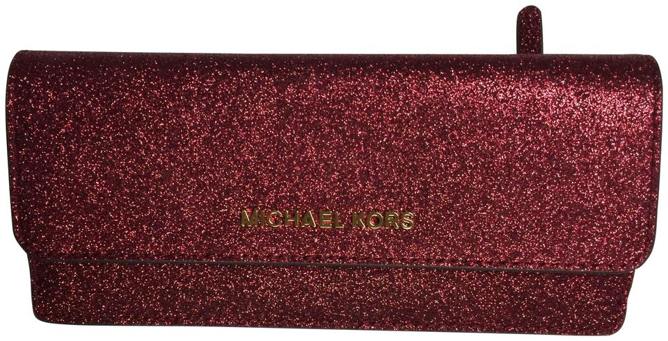 999c7518561 Michael Kors Giftables Red Glitter Slim Flat Wallet Leather Clutch Image 0  ...