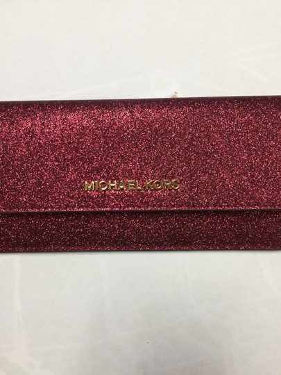 Michael Kors Giftables Red Glitter Slim Flat Wallet Leather Clutch Image 10