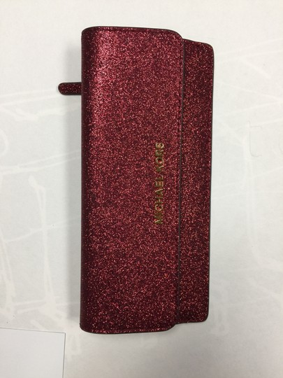 Michael Kors Giftables Red Glitter Slim Flat Wallet Leather Clutch Image 11