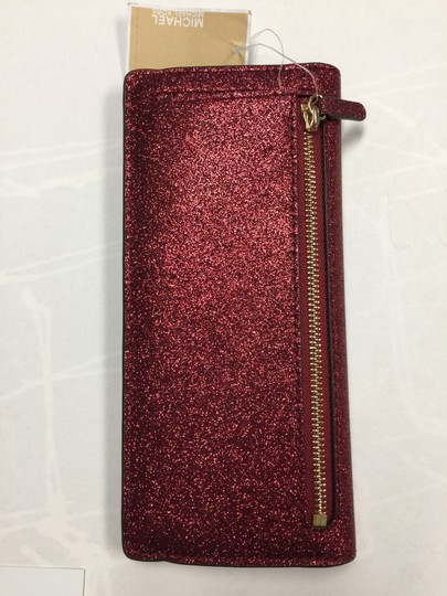 Michael Kors Giftables Red Glitter Slim Flat Wallet Leather Clutch Image 3