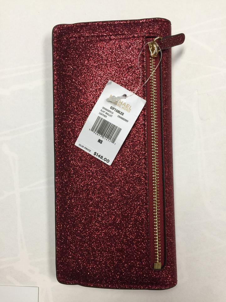 3606a1afd952 Michael Kors Giftables Red Glitter Slim Flat Wallet Leather Clutch Image  11. 123456789101112