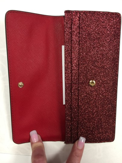 Michael Kors Giftables Red Glitter Slim Flat Wallet Leather Clutch Image 6