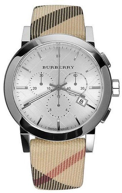 Item - Beige Brown Red Silver Bu9357 Swiss Leather Chronograph Men's Watch