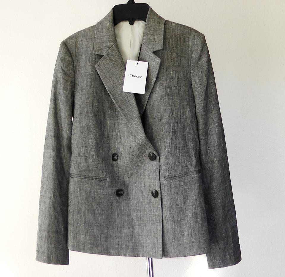 c38fb9546c Theory Blk Ivory Double Breasted Linen Blend Suit Jacket Blazer Size ...
