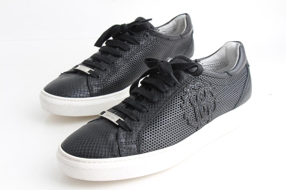 9c3aef0bd77 Roberto Cavalli Black Perforated Low-top Sneakers Shoes 58% off retail