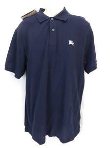 Burberry Brit Blue L Check Nova Buttons Dark Navy Polo Cotton Sleeves Shirt
