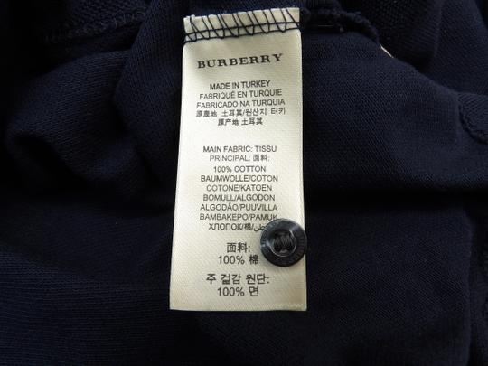 Burberry Brit Blue L Check Nova Buttons Dark Navy Polo Cotton Sleeves Shirt Image 10