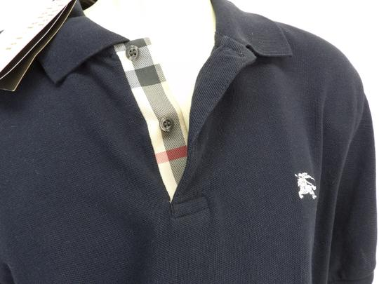 Burberry Brit Blue L Check Nova Buttons Dark Navy Polo Cotton Sleeves Shirt Image 3
