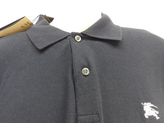 Burberry Brit Blue L Check Nova Buttons Dark Navy Polo Cotton Sleeves Shirt Image 4