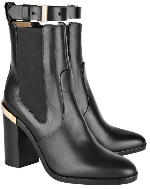 Item - Black Gold Trimmed Leather Ankle Boots/Booties Size US 9.5 Regular (M, B)