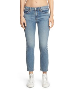 Rag & Bone Distressed Cropped Stove Pipe Straight Leg Jeans