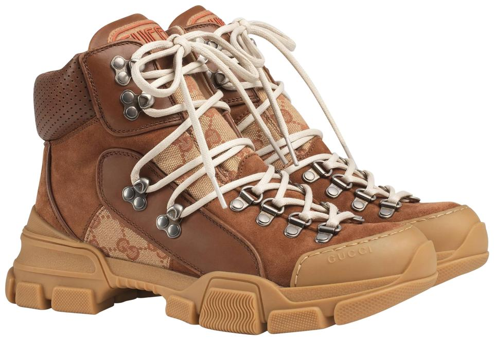 cef09ea14a9 Gucci Brown Leather Flashtreck Hiking Boots Booties Size EU 37 ...
