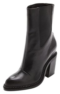 Theyskens' Theory Ankle Leather Chunky Heel Black Boots